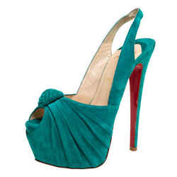 Christian Louboutin Green Suede Jenny Knotted Slingback Platform Sandals Size