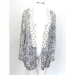 $980 Balmain Ivory/black Silk Paisley Open Blazer Sz 8 Eu 44 Nwt!