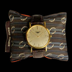 HERMES Vintage Horseshoe Gray Stripe Cravatte Cedar Watch Pillow