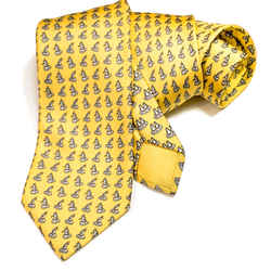 Hermes Silk Necktie 625922 SA Penguins on Yellow Background