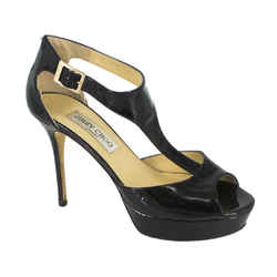 Jimmy Choo | Black Patent Platform Sandals