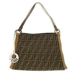 Auth Fendi Zucca Canvas Tote Bag Brown 8br652 Leather