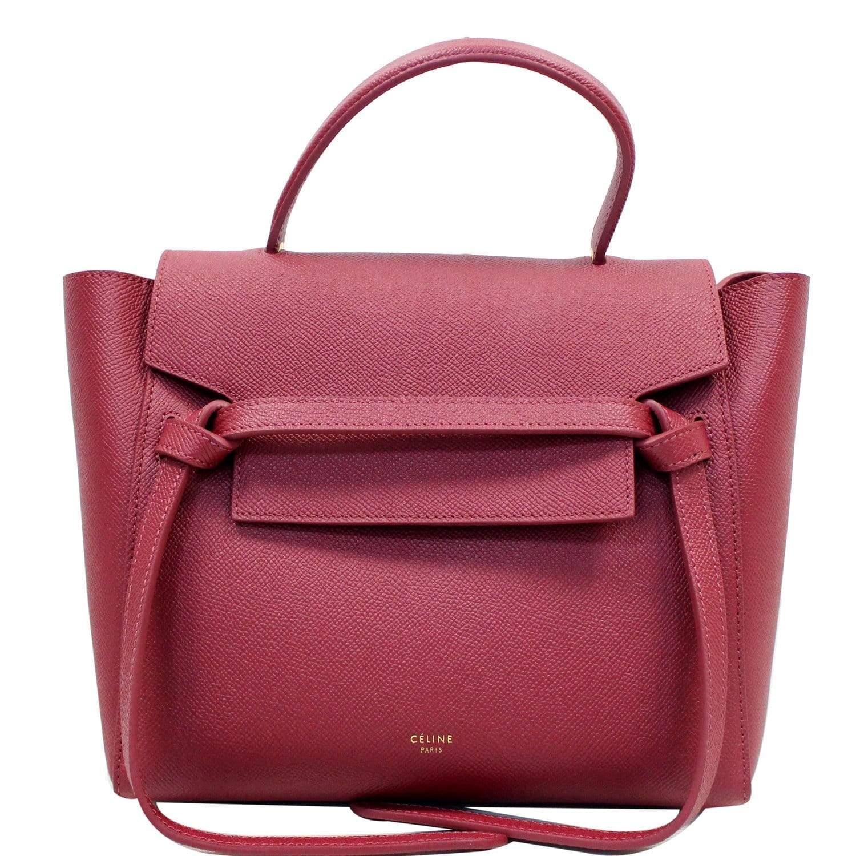 Celine Micro Belt Grained Calfskin 2way Shoulder Bag Ruby Leprix