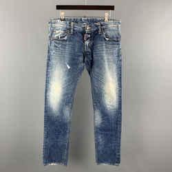 Dsquared2 Size 32 Blue Wash Denim Button Fly Jeans