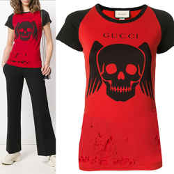 S NEW $980 GUCCI Red Cotton RIPPED Black Contrast Skull Graphic Slim Fit T-SHIRT