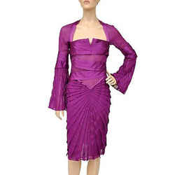 F/w 2004 Tom Ford For Gucci Pleated Silk Dress 42 - 6