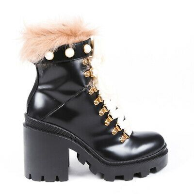 Gucci Boots Black Leather Fur Pearl