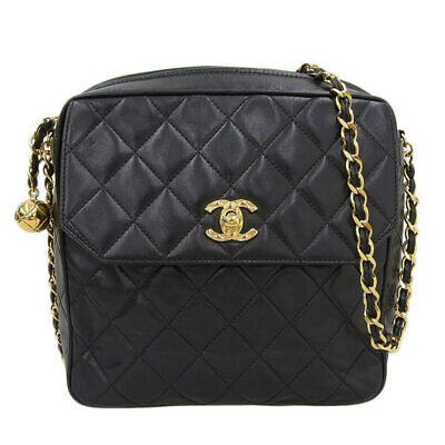 Auth Chanel Matrasse Leather Chain Shoulder Bag Black 2nd