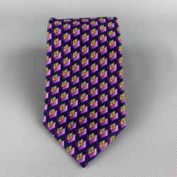 Gianni Versace Purple & Gold Geometric Print Silk Tie