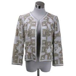 Oscar De La Renta Beige Sequined Jacket