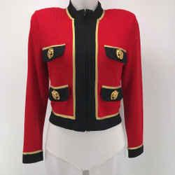 St John Lion Embellished Cropped Jacket Size XS
