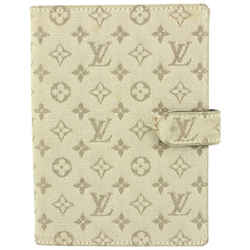 Louis Vuitton Olive Grey Mini Lin Monogram Small Ring Agenda PM Diary Cover 146lv729