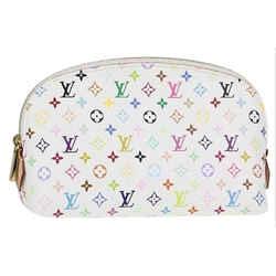 Louis Vuitton Monogram Multicolor Blanc Cosmetic Pouch Demi Ronde Toiletry 19LV712