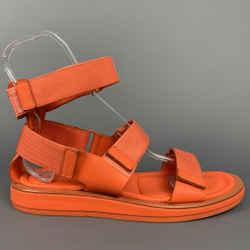 CALVIN KLEIN COLLECTION Size 12 Orange Leather Straps Sandals