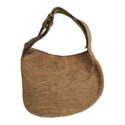 FENDI BROWN SEQUOIA NUBUCK TIGER STRIPED ASYMMETRICAL HOBO BAG