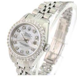 Rolex White Mop Lady Datejust Diamond Dial Diamond U Bezel Watch