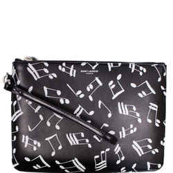 Yves Saint Laurent Calfskin Musical Notes Zip Pouch Black