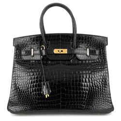 Birkin 35 Black Porosus Crocodile Handbag