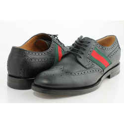 Gucci Men's Striped Webbing Grained Leather Brogues Oxford