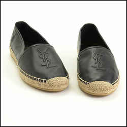 Rdc11303 Authentic Saint Laurent Black Nappa Leather Nero Espadrilles Size 42