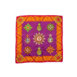 Vintage Magenta & Multicolor Gianni Versace Silk Scarf