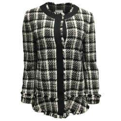 Akris Punto Black and White Plaid Tweed Fringe Jacket