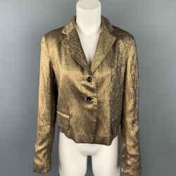 DRIES VAN NOTEN Size 10 Gold Textured Silk Blend Jacket Blazer