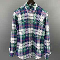 Ralph Lauren Size S Blue & Green Plaid Cotton Button Down Long Sleeve Shirt
