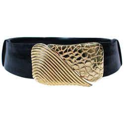 JUDITH LEIBER Vintage Black Lizard Belt with Large Gold Belt Buckle