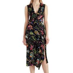 Jason Wu Black Floral Sleeveless Surplice Crinkle Silk Dress