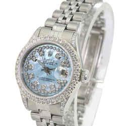 Rolex Datejust Blue MOP Diamond Dial Lugs Diamond Bezel 26mm Watch