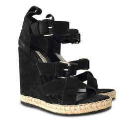 New $725 Balenciaga Rope Track Suede Wedge Sandals - Black - Size 38c