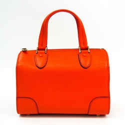 Valextra Mini Boston V5C14 Women's Leather Handbag Orange BF522614