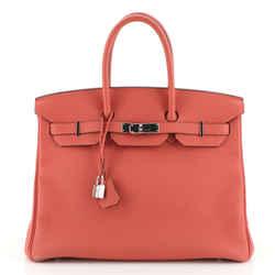 Birkin Handbag Rouge Pivoine Togo with Palladium Hardware 35