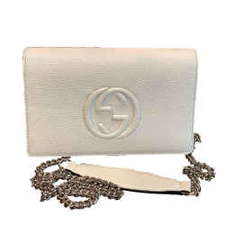 Gucci Soho Wallet on Chain Ivory Leather Cross Body Bag 598211