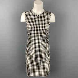 THEORY Size 0 Black & White Gingham Cotton Blend Sheath Dress