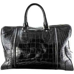 Gucci Rare Boston Travel Shiny Black Crocodile Leather Travel Bag