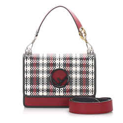 Vintage Authentic Fendi Red  with Multi Calf Leather Kan I F Satchel Italy