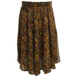 Valentino Navy Blue & Brown Floral Printed Silk Skirt