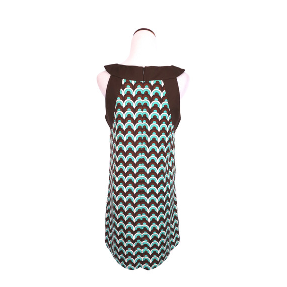 Milly Brown, Green And White Geometric Patterned Dress