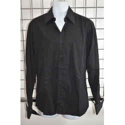 GUCCI Black 100% Cotton Men's Button down Shirt French Cuff Size 16.5 On Sale kp