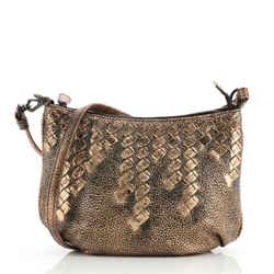 Saddle Zip Messenger Bag Cervo with Intrecciato Detail Mini