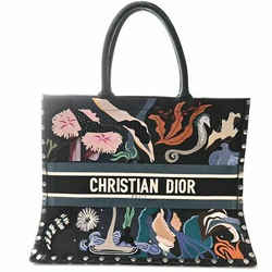 Auth Christian Dior Book Tote Women's Suede Tote Bag Multi-color,navy