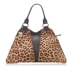 Vintage Authentic Fendi Brown Diavolo Trapezio Pony Hair Handbag Italy