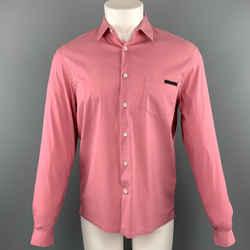 Prada Size S Pink Cotton Blend Button Up Long Sleeve Shirt