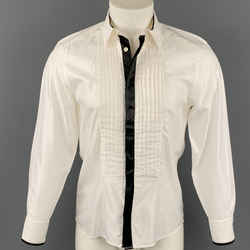 VERSACE COLLECTION Trend Size M White & Black Pleated Viscose / Cotton Long Sleeve Shirt