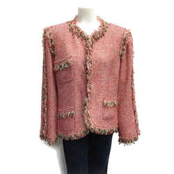 Chanel Red/cream Metallic Tweed Blazer