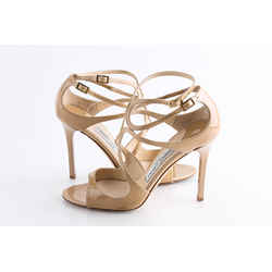 Jimmy Choo Nude Lang Patent Sandals