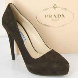 Prada Classic Brown Suede Leather Hidden Platform Heel Pump Size 39 Toe Nib $750
