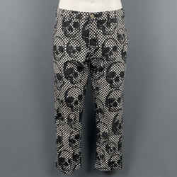 COMME des GARCONS HOMME PLUS Size S Black & White Checkered Skull Polyester Capri Casual Pants